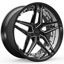 4-NEW ROSSO 701 REACTIV 20x8.5 5x112 +34mm Black/Milled Wheels Rims