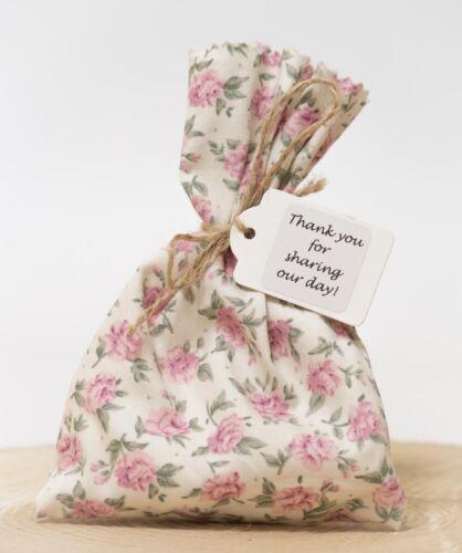 Pink /& Green Tea Rose Mariage Faveur Sacs Shabby Chic VINTAGE STYLE Personnalisé