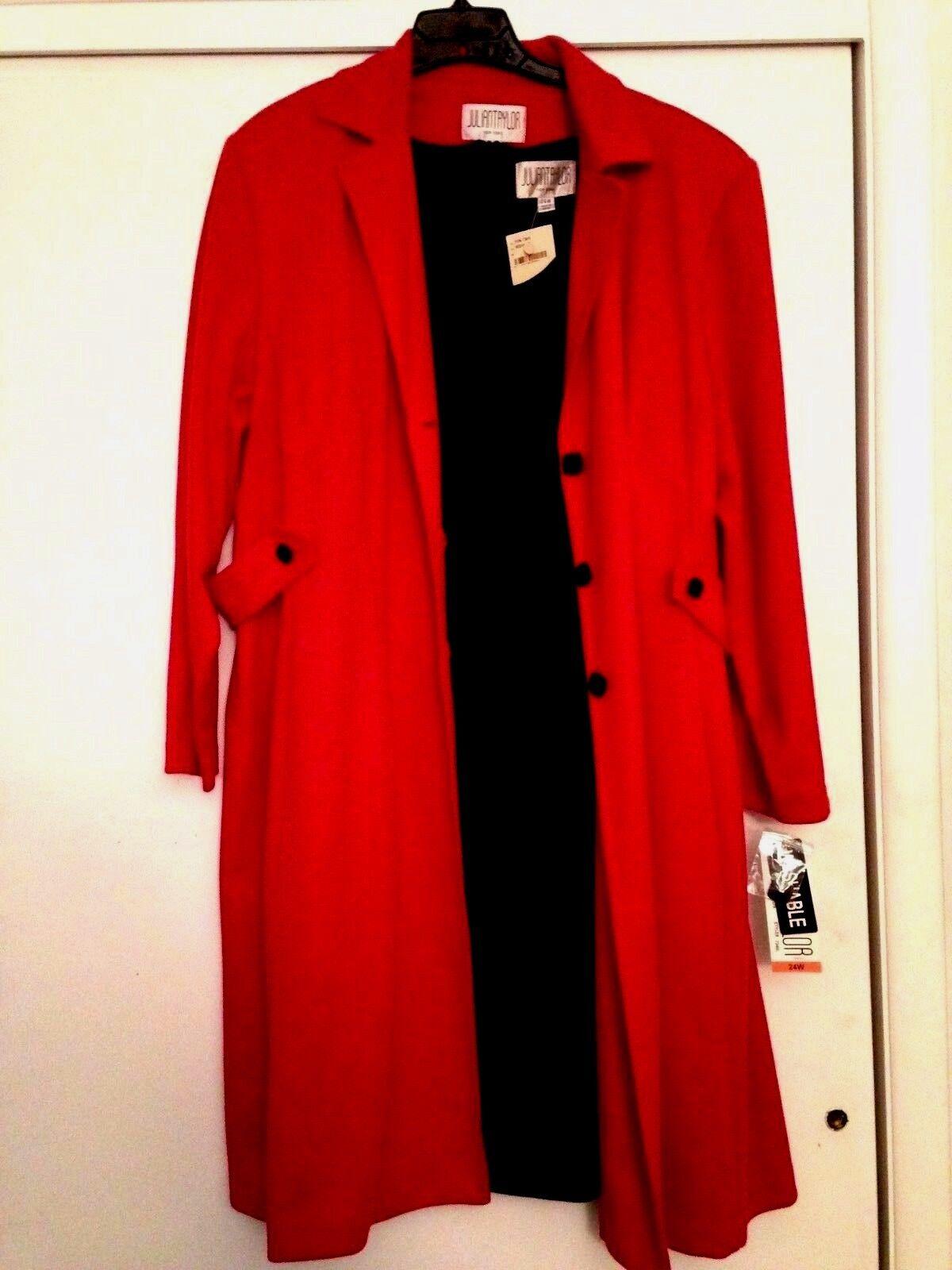 Julian Taylor Ladies 48  Long schwarz Jacket Dress  Long Sleeve rot Coat Set 24W