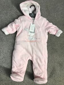f0139cfb89cf Baby Velour Pram Suit snow Suit Pink And White Brand New 3 -6 Months ...