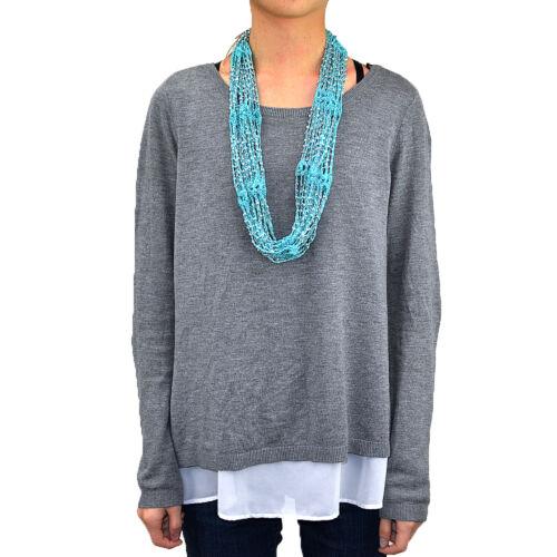 12 PCs Wholesale Women Crochet Bling Beads Infinity Knitted Scarf Belt Loop