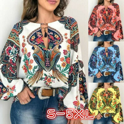 Womens Long Sleeve Casual Floral T Shirt Ladies Loose Tops Blouse Oversized 6-24