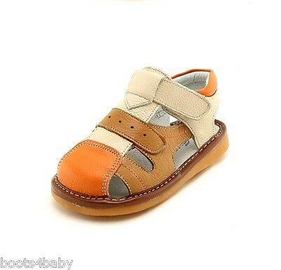 Boy's Toddler Children's Squeaky Shoes Cream & 2 Tone Tan Real Leather Sandals