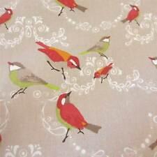 Stoff Meterware Baumwolle beige Vögel rot grün orange Vogel Frankreich Neu 2015