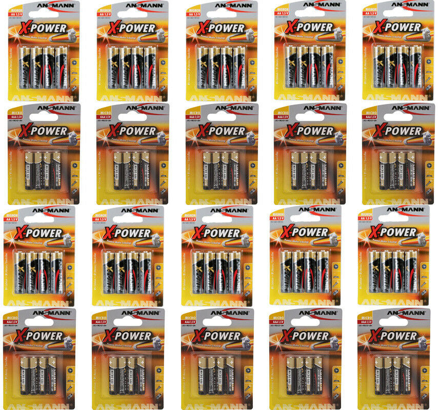 80 x Ansmann X-Power Batterien - - - 40 x AA Mignon LR6 + 40x AAA Micro LR03 Blister | Spaß  6d0328