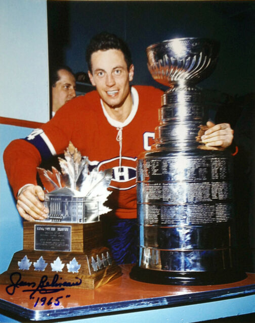 Jean Beliveau Signed 8x10 Photo (Stanley Cup) - Montreal Canadiens