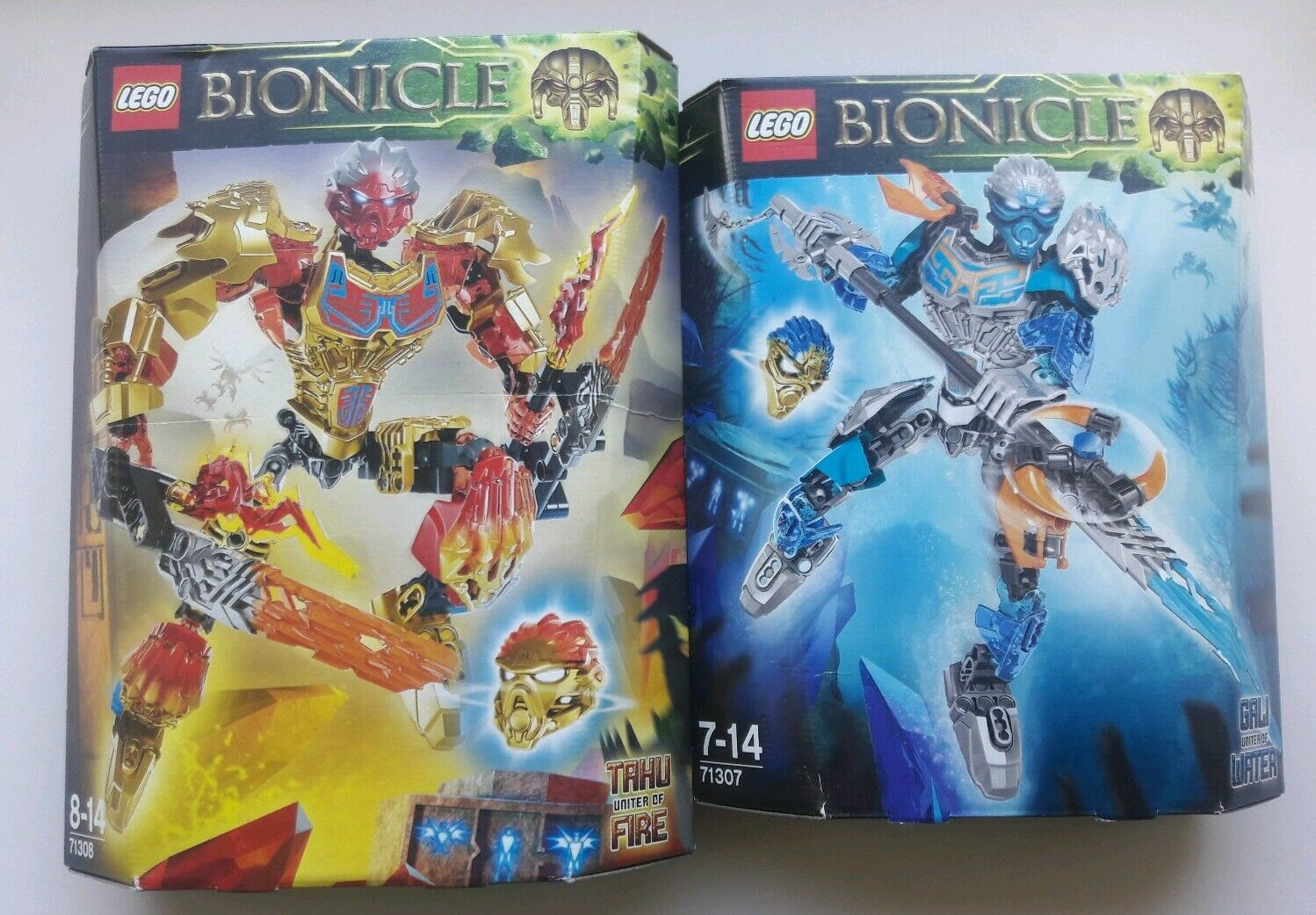 Lego Bionicle Tahu Uniter of Fire 71308 & Gali Uniter of Water 71307 All New