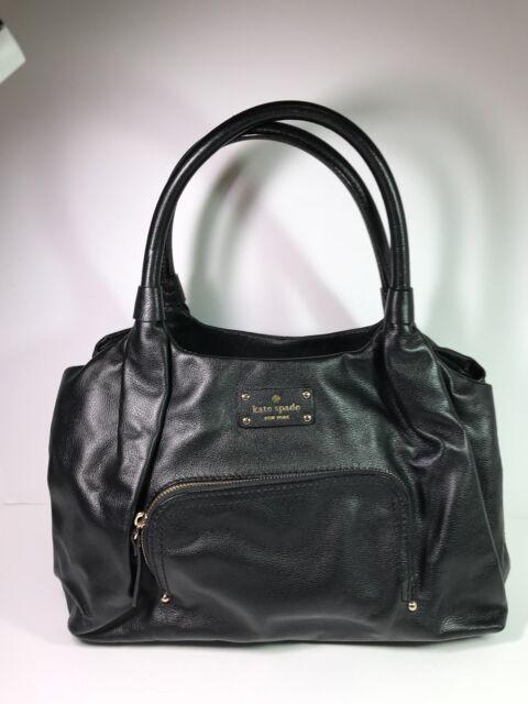 Kate Spade Baxter Street Stevie Black Leather Satchel Shoulder Bag Euc