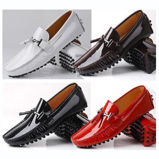 Zapatos de Cuero Hombres Hombres Cuero Rojo Borla Cordones Casuales Zapatos Mocasines De Buceo 3265e8