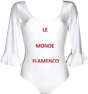 BODY  FLAMENCO  FEMME  MANCHE  3/4   BLANC