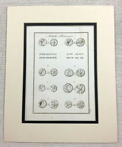 1821-Antique-Print-Ancient-Phoenician-Coins-numismatics-Money-Rare-Engraving