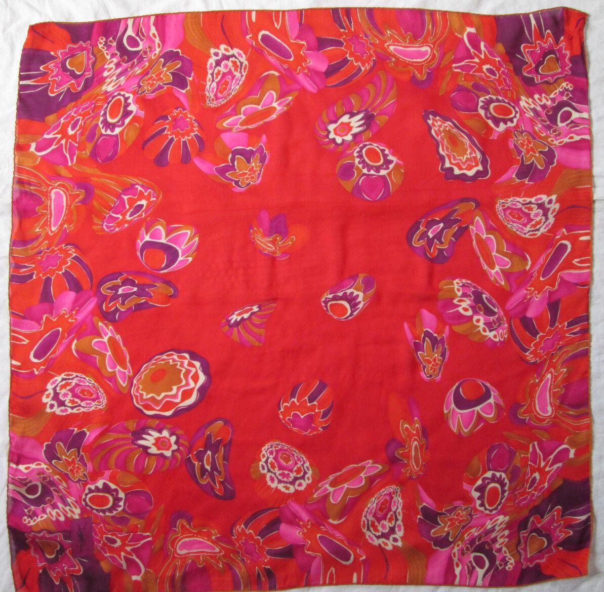 - foulard en mousseline YVES SAINT LAURENT soie TBEG vintage scarf 88 x 88 cm
