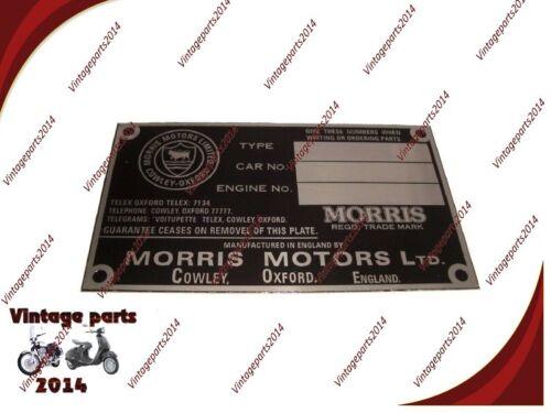 Details about  /Morris Engine Instruction Brand New Data Plate Hi Quality @ Vintage Spare Parts