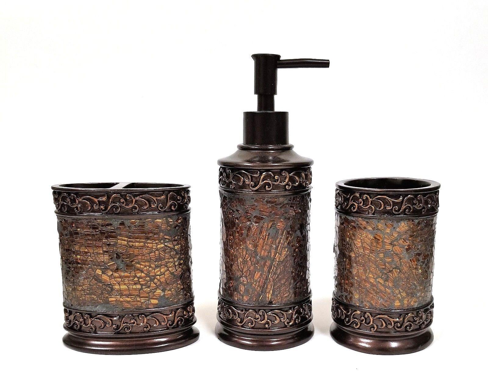 Nuovo pc set marronee resina ambra mosaico in in in vetro