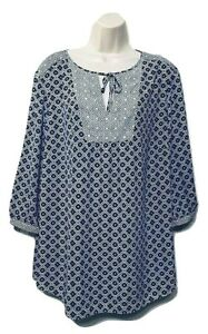 NYDJ-Women-039-s-Blouse-Plus-Size-1X-3-4-Sleeve-Tie-Front-Pullover-Top