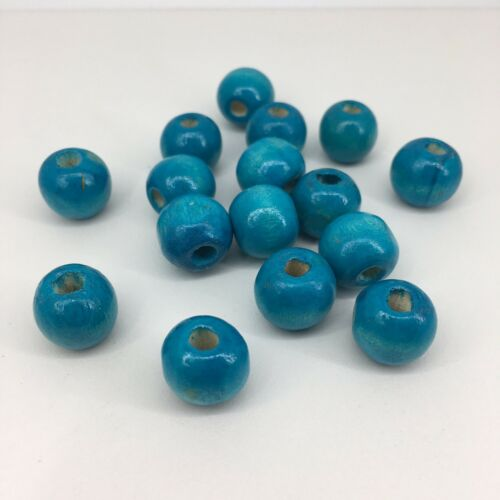 50X Turquoise Blue Wood Beads 12x11mm Round DIY Macrame Craft Wooden Bead
