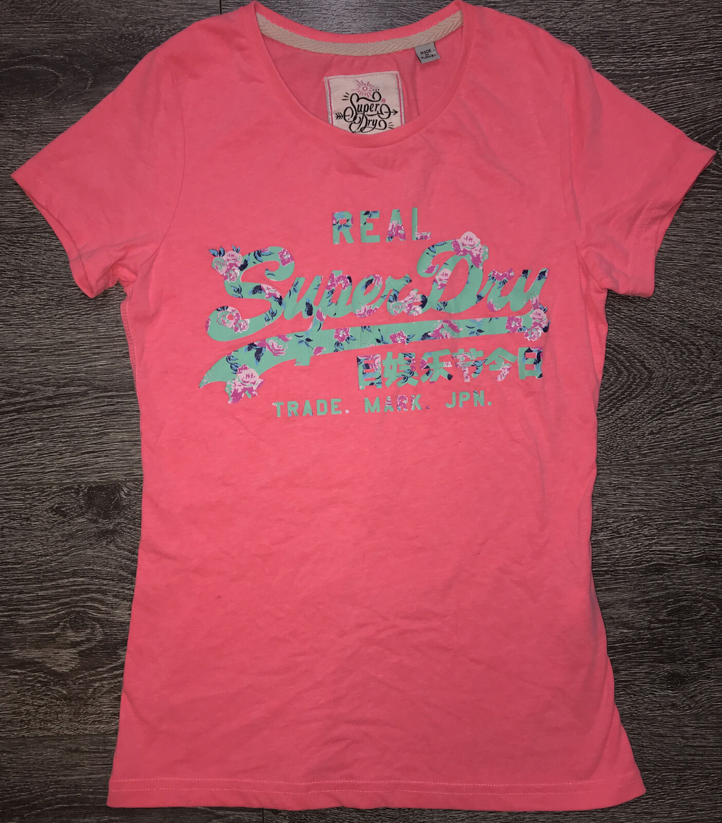 Superdry Girls Pink T-Shirt Pink Floral Condition Used - Size Small