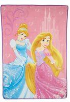Disney Princess Cinderella Rapunzel Elegant Glamour Princess Twin/full Blanket