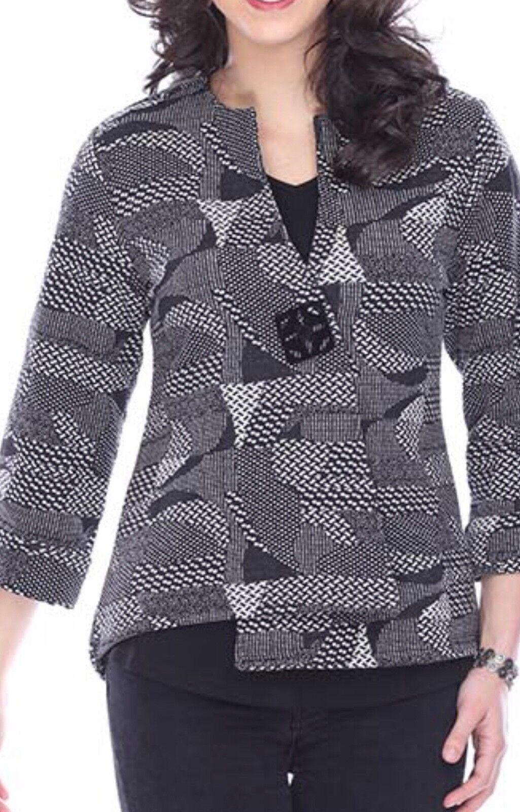 NUEVO Blazer de chaqueta elegante de perejil y Sage Plus Hazel Chaqueta con botones de fantasía Otoño Invierno 3X negro