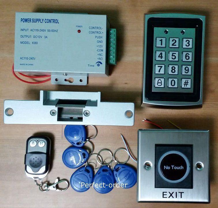 EE. UU. nuevo 125 kHz Tarjeta Rfid + contraseña puerta sistema de control de acceso + Control Remoto + Cerradura de huelga