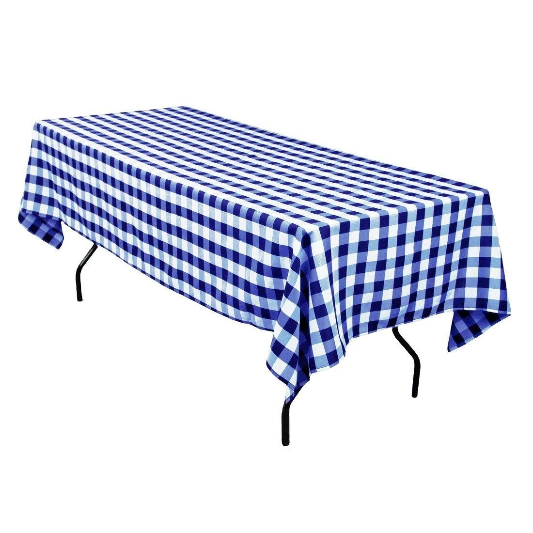 5 Checkerot Gingham 90 ×156  Polyester Tablecloths Rectangle 8ft Table Made USA