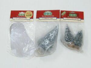 "LEMAX BRISTLE TREES 4"" & 6"" PVC MIRROR LAKE CHRISTMAS VILLAGE"