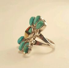 SIGNED Vintage E.A. ZUNI Sterling Silver Turquoise Coral MOP Ring Size 6 ~ 5g