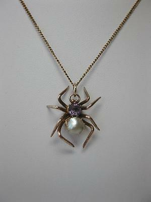 Victorian Spider Amethyst Pearl Pendant Necklace Gold Insect Animal Jewelry 1900