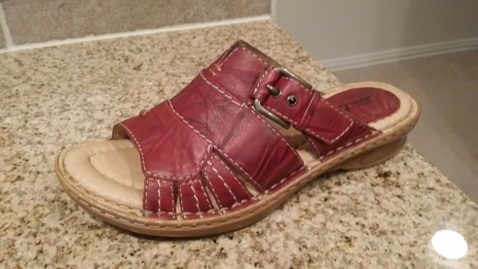 NEW Size 7B Earth Willow Slide Red Distressed Pelle Slide Willow Sandals 9b91ba