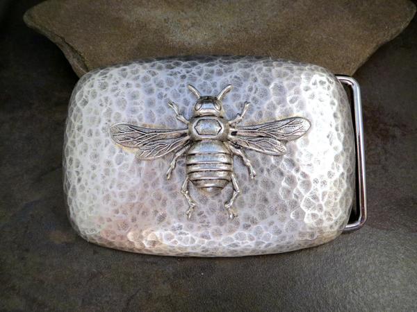 Handmade Silver Steampunk Bee Belt Buckle