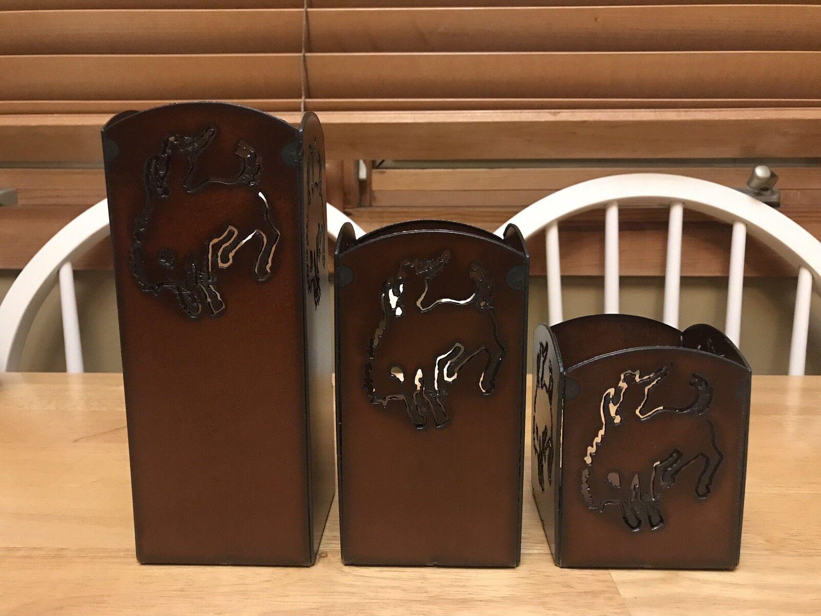 Western Rustic Metal Decor Bronc Rider Cowboy Ironwerks Candle Holders Set of 3