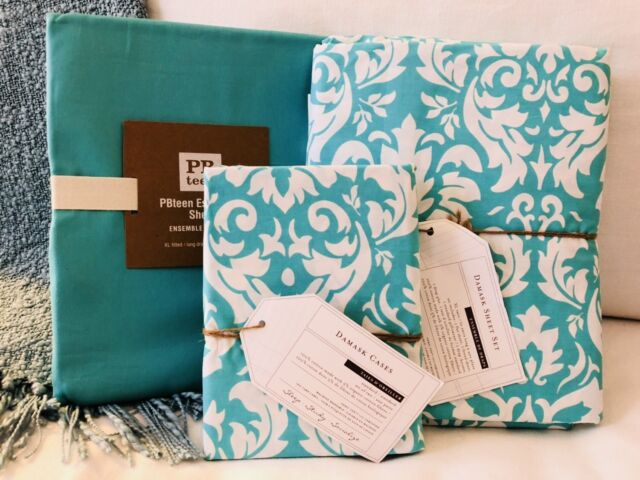 Pottery Barn Teen 6pc Damask Twin xl Sheet Set Solid Flat & PCASES