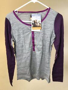 ICEBREAKER-Women-039-s-100-Merino-Wool-OASIS-200-HENLEY-Grey-Vino-NEW-WITH-TAGS