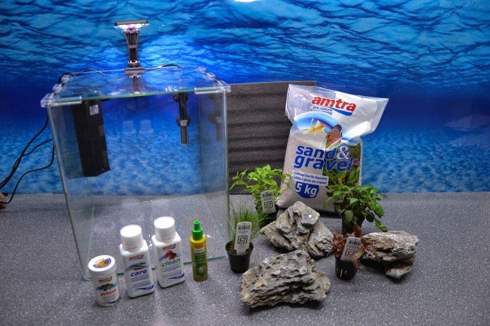 alto sconto Onda Scatola Cubo 30 Nano Acquario Incl. Decorazione Acquario Acquario Acquario Completo Per  promozioni