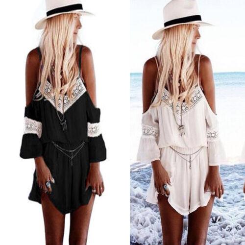 Da Donna Estive Mini Tutina Donna Tuta Pantaloncini Da Spiaggia Mini Abito UK
