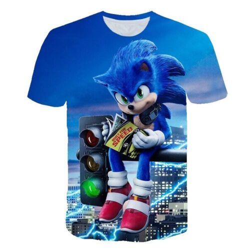 Unisex T-shirt Sonic the Hedgehog Short Sleeve 3D Printed Cloth Gift Girls Boys