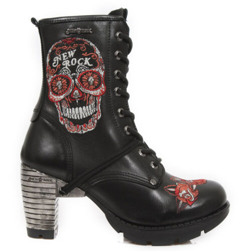 NEW ROCK LADIES WOMENS TRAIL EMBROIDERY TR048-S3 RED BLACK SKULL EMBROIDERY TRAIL LEATHER BOOTS 1df75c