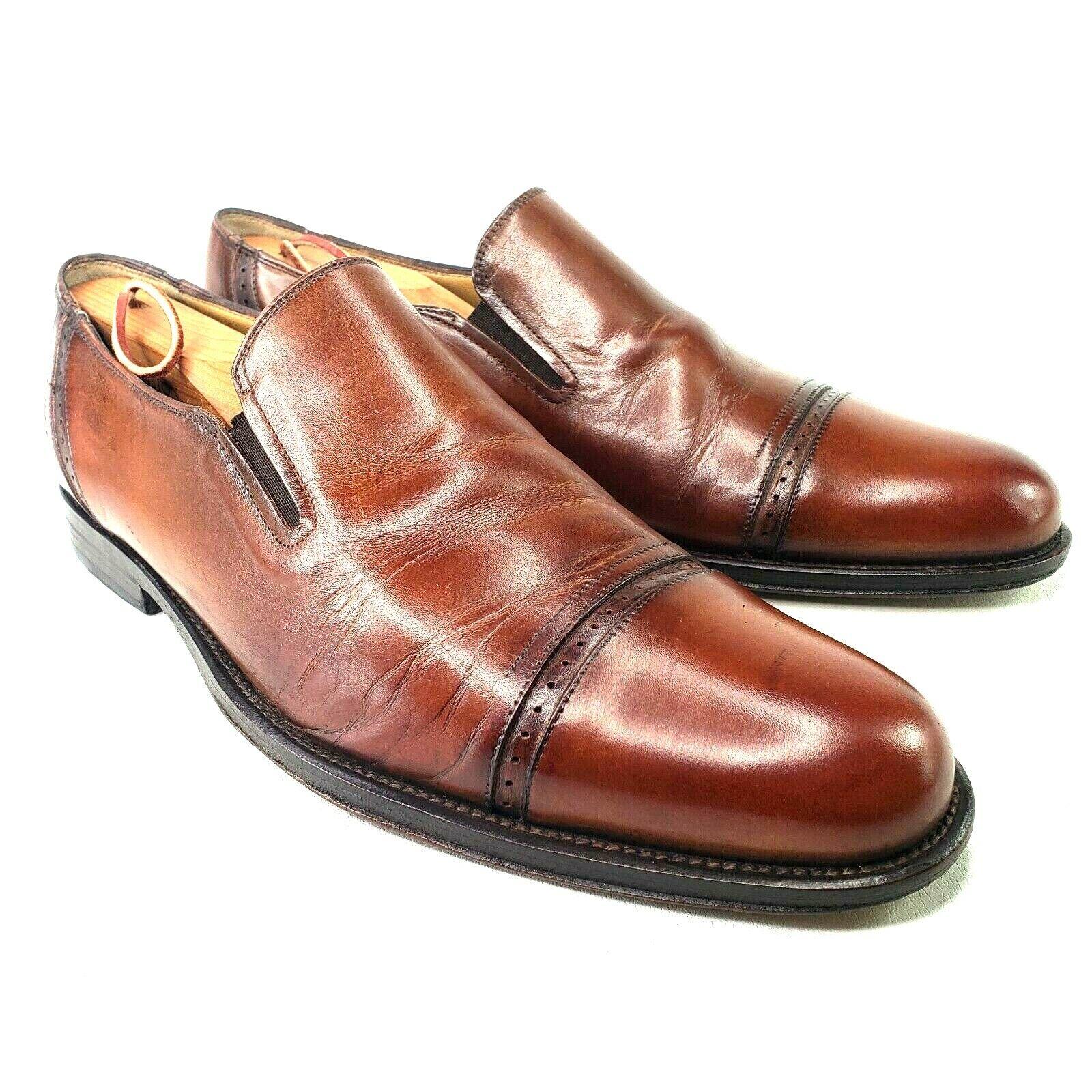Johnston Murphy Handcrafted in Italy Cap Toe Slip On Size 10 Cognac Brown Brogue