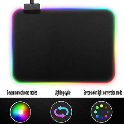 Newly RGB Colorful LED Lighting Gaming Mouse Pad Mat for PC Laptop 35cm x25cm