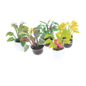 1-12-Scale-Dollhouse-Miniature-Clay-Flowers-in-Rattan-Pot-Planter-Fairy-Garde-FT