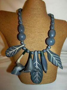 BLUE-Necklace-Painted-WOOD-Artisan-Vtg-80s-90s-HUGE-FLORAL-Pendants-BEADS-20-034
