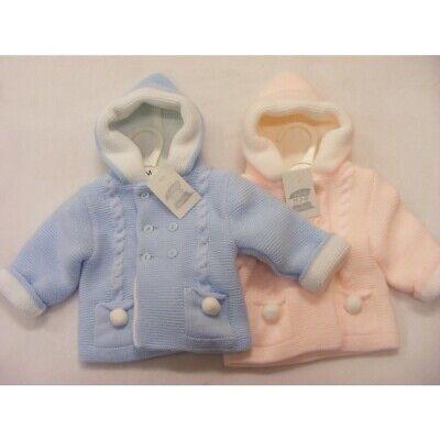 Boys//Girls High Quality Spanish//Romany Pom Pom Knitted Coat//Bonnet 6 12 18 M