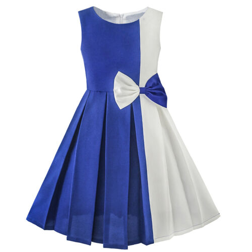 Sunny Fashion Girls Dress Color Block Contrast Bow Tie Everday Party