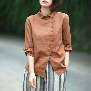 Lady-Cotton-Linen-Shirt-Tops-Asymmetry-Button-Long-Sleeve-Blouse-Retro-Casual