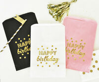 24 Happy Birthday Gold Foil Candy Buffet Party Favor Goodie Bags Q46991
