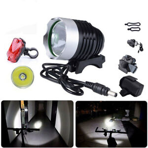 T6-LED-2000Lm-Lampe-de-velo-Lampe-frontale-Rechargeable-Batterie-Feu-Arriere-FTP