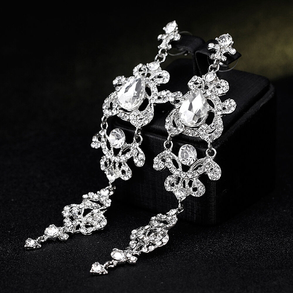 Women Bridal Engagement Long Dangle Chandelier Rhinestones Stud Jewelry Well Earrings