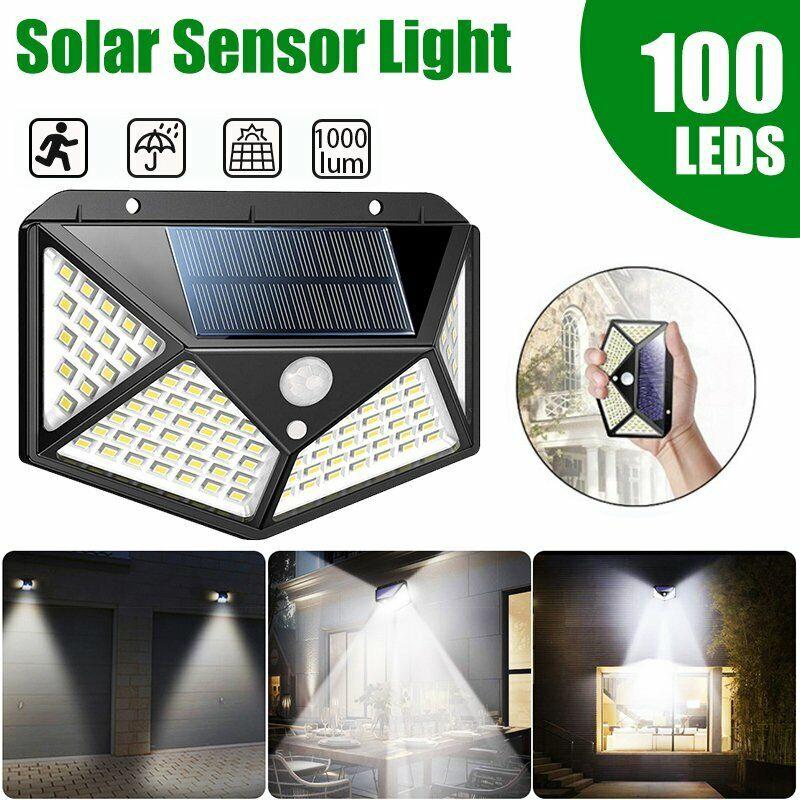 100LED Outdoor Solar Powered Wall Lamp Motion Sensor Waterpr