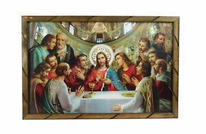 Cuadro La Ultima Cena Vaticano 36 X24 Marco De Madera Rustico 2436r Ebay