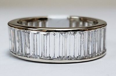 Solid 14k White Gold 2mm Baguette Cut Three Stone Anniversary Ring Wedding Band CZ Cubic Zirconia 1//2 cttw.